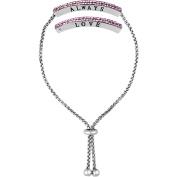 "Truly Inspired Crystal Fine Silver-Tone ""Love/Always"" Adjustable Bracelet"