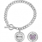 """Truly Inspired Crystal Fine Silver-Tone Butterfly """"Believe"""" Toggle Bracelet, 19cm"""