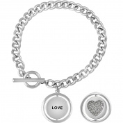"""Truly Inspired Crystal Fine Silver-Tone Heart """"Love"""" Toggle Bracelet, 19cm"""