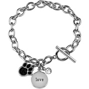 """Truly Inspired Clear and Jet Crystal Silver-Plated """"Love"""" Disc/Paw/Bezel Setting Bracelet with a Toggle Closure, 18cm - 1.3cm"""