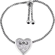 Truly Inspired Clear Crystal Silver-Tone Heart Adjustable Bracelet