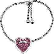 Truly Inspired Pink Crystal Silver-Tone Heart Adjustable Bracelet