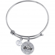 Disney Princess Women's Stainless Steel Dream Big Crystal Cinderella Carriage with 8mm Clear Bead Bangle Bracelet