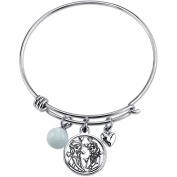 Disney Frozen Women's Stainless Steel Sisters Forever Elsa and Anna Heart and 8mm Amazonite Bead Bangle Bracelet