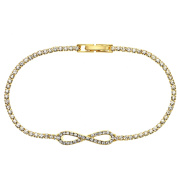 X & O Handset Austrian Crystal 14kt Yellow Gold-Plated Infinity Bracelet