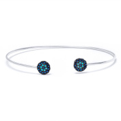 .925 Sterling Silver Bangle with Sapphire and Nano Turquoise Stones