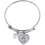 Disney Princess Women's Stainless Steel A Heart Full Of Dreams Crystal Heart Crown and 8mm Clear Bead Bangle