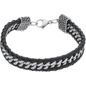 1913 Steel Stainless Steel Oxidised Curb Chain Wrapped Black Leather Bracelet