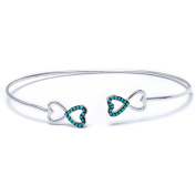 .925 Sterling Silver Bangle with Nano Turquoise Stones