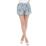 Juniors Retro Smocked Waist All Over Floral Prints Slim Fit Shorts