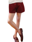 Juniors High Waist Solid Colour Zip Back Easy-wear Loose Shorts