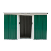 Outsunny 2.7m x 1.2m Outdoor Metal Garden Storage Shed - Green/White