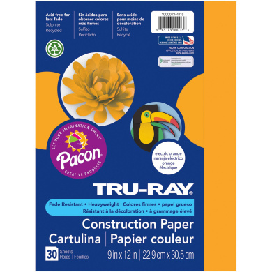 Tru-Ray® Electric Orange Sulphite Construction Paper, 30 Sheets