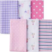 Gerber Newborn Baby Girl Assorted Flannel Burp Cloths, 6-Pack