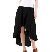 Unique Bargains Women's Elasticized Waistband Irregular Hem Skirt Black