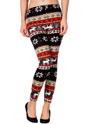 Woman/juniors' Colourful Snowflake Deer Print Knitted Leggings Tights - St. Valentine's Day Sale Price-One Size-M/L