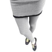 Juniors Elastic Waist Stretchy Faux Fur Decor Skirt Leggings Black