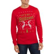 Let's Get Blitzen Big Men's Reindeer Graphic Christmas Thermal, 2XL