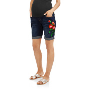 Planet Motherhood Maternity Over-Belly Seamless Banded, Cuffed Bermuda Denim Shorts With Side Floral Applique