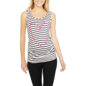 Planet Motherhood Maternity Striped Graphic Tank With Flattering Side Ruching