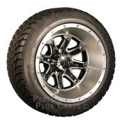 HD4 30cm Black / Machined Golf Cart Wheels with Low Profile Street Tyre Package