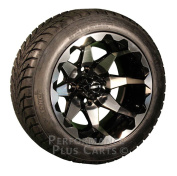 HD6 30cm Black / Machined Golf Cart Wheels with Low Profile Street Tyre Package