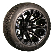 HD3 30cm Black / Machined Golf Cart Wheels with Low Profile Street Tyre Package