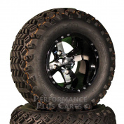 25cm Twister Black and Machined Golf Cart SS Wheels with 50cm Lifted Tyre Package