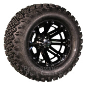 HD3 30cm Black and Machined Golf Cart Wheels with 60cm A/T Lifted Tyre Package