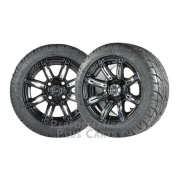 Illusion 30cm Black w/ Coloured Inserts Golf Cart Wheels w/ Low Profile Tyres X4