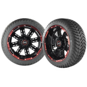 Transformer 36cm Black and Red Golf Cart Wheels with Low Profile Street Tyres X4