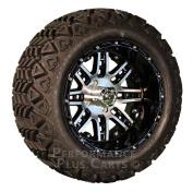 Megastar 14X8 Black & Machined Golf Cart Wheels w/ 60cm A/T Lifted Tyre Package