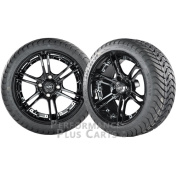 Mirage 36cm Black w/ Coloured Inserts Golf Cart Wheels w/ Low Profile Street Tyres