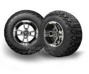 EZGO RXV GAS 15cm LIFT KIT+ Apex 25cm Machined & Black Golf Cart Tyre & Wheel Combo