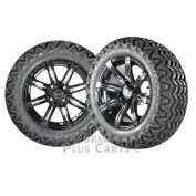 Illusion 36cm Black w/ Coloured Inserts Golf Cart Wheels with 60cm A/T Tyres - X 4