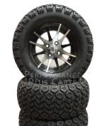 YAMAHA G14, G16, G19 15cm LIFT KIT + 12X7 Machined & Black Golf Cart Wheel +AT Tyres