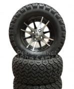 CLUB CAR DS 84-03.5 15cm LIFT KIT + 12X7 Machined & Black Golf Cart Wheels + AT Tyre