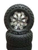 YAMAHA G14,G16,G19 15cm LIFT KIT + Vegas 12X7 Black & Machined Golf Cart Wheel+Tyres