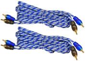 (2) Rockville RTR122 3.7m 2 Channel Twisted Pair Car RCA Cables, 100% Copper