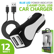 Cellet High-Power 12-Watt (2.4-Amp) Dual USB Port Car Charger with microUSB Cable, White