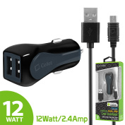 Cellet RapidCharge 12W 2.4A Dual USB Car Charger with Micro USB Cable - Black