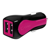 Cellet Prism RapidCharge 12W 2.4A Dual USB Car Charger for Android and Apple Devices, Pink