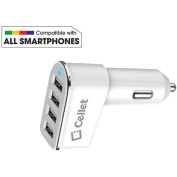 Cellet Universal 26-Watt 5.2-Amp 4-Port Car Charger for Android and Apple Devices, White