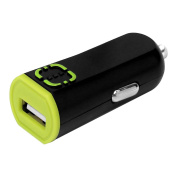 RUIZ by Cellet Universal 2.1A/10W USB Car Charger, Black/Green