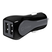 Cellet Prism RapidCharge 12W 2.4A Dual USB Car Charger for Android and Apple Devices, Grey