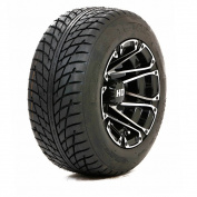 HD3 25cm Black/Silver Machined Golf Cart Wheels with Low Profile Street Tyres