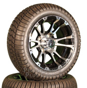 30cm Typhoon Golf Cart Tyre / Wheel Combo - 12x 7 SS Wheels with Low Profile Tyres