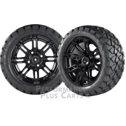 Illusion 36cm Black with Coloured Inserts Golf Cart Wheels with 60cm A/T Tyres X 4
