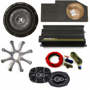 Kicker for Dodge Ram Quad/Crew 02-15 25cm CompVT w/ grille in under-seat enclosure, CX300.4 amplifier, DS 6x 9s + Amp Kit