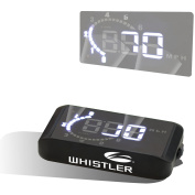 Whistler WHD-100 Heads-Up Display Shows Speed and Tach on Windshield
